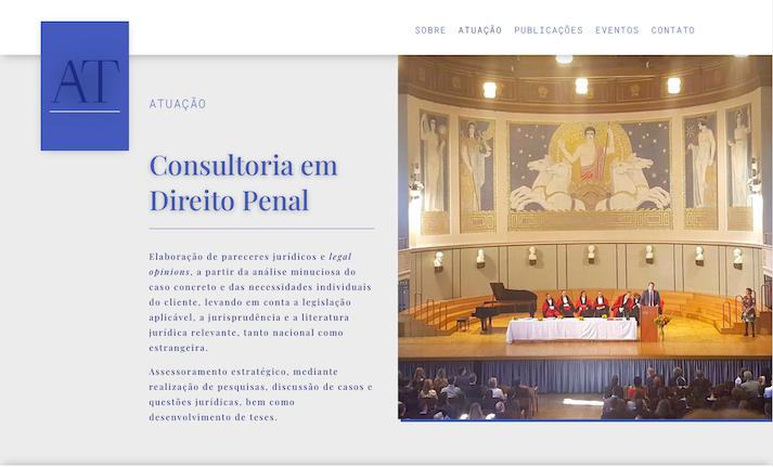 Imagem mostra a página Atuação do site do advogado e professor da FGV São Paulo Adriano Teixeira.