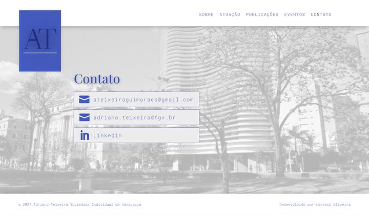Imagem mostra a página Contato do site do advogado e professor da FGV São Paulo Adriano Teixeira.