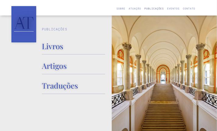 Imagem mostra a página Publicações do site do advogado e professor da FGV São Paulo Adriano Teixeira.